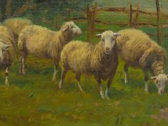 19th Century Antique Pastoral Landscape Painting of Sheep by Jan Pietras - 1119822
