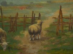 19th Century Antique Pastoral Landscape Painting of Sheep by Jan Pietras - 1119823