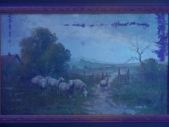 19th Century Antique Pastoral Landscape Painting of Sheep by Jan Pietras - 1119826