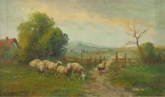 19th Century Antique Pastoral Landscape Painting of Sheep by Jan Pietras - 1120225