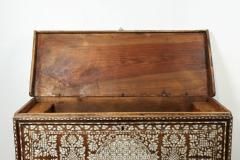 19th Century Antique Syrian Mother of Pearl Inlay Wedding Trunk - 357359