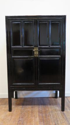19th Century Chinese Black Lacquer Panel Cabinet - 674968