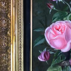 19th Century Danish Painter Pink Roses Unsigned - 1701919