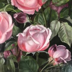 19th Century Danish Painter Pink Roses Unsigned - 1701921