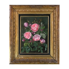 19th Century Danish Painter Pink Roses Unsigned - 1702469