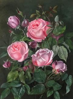 19th Century Danish Painter Pink Roses Unsigned - 1705486