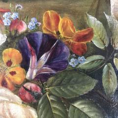19th Century Danish School Still Life Flowers Grapes Unsigned - 1701911