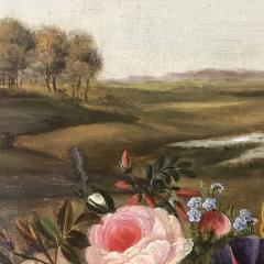19th Century Danish School Still Life Flowers Grapes Unsigned - 1701912
