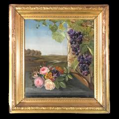 19th Century Danish School Still Life Flowers Grapes Unsigned - 1702391