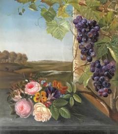 19th Century Danish School Still Life Flowers Grapes Unsigned - 1705488