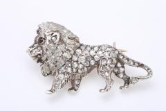 19th Century Diamond Lion Brooch in Platinum - 85574