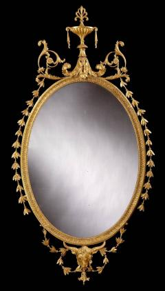 19th Century English Giltwood Oval Mirror in the Neoclassical Style - 674622