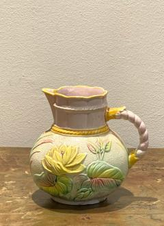 19th Century English Majolica Pitcher with Lotus - 1473927