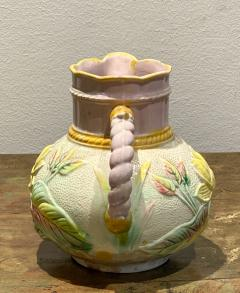 19th Century English Majolica Pitcher with Lotus - 1473928