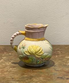 19th Century English Majolica Pitcher with Lotus - 1473931