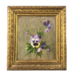 19th Century Framed Pansies Oil on Board - 1702841