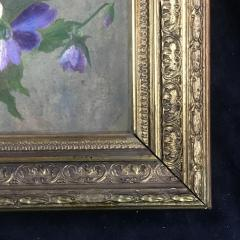 19th Century Framed Pansies Oil on Board - 1702871