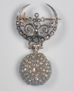 19th Century French Diamond Swiss Movement Watch and Brooch Pin - 963953