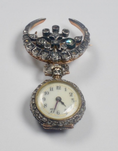 19th Century French Diamond Swiss Movement Watch and Brooch Pin - 963956