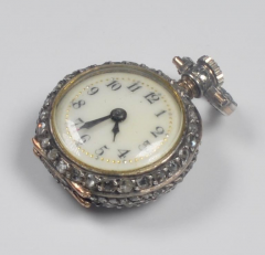 19th Century French Diamond Swiss Movement Watch and Brooch Pin - 963959