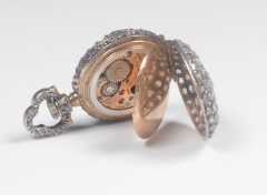 19th Century French Diamond Swiss Movement Watch and Brooch Pin - 963962