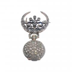 19th Century French Diamond Swiss Movement Watch and Brooch Pin - 965124