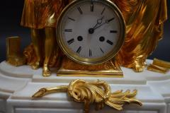 19th Century French Dore Bronze and White Marble Figural Clock - 336598