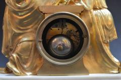 19th Century French Dore Bronze and White Marble Figural Clock - 336599
