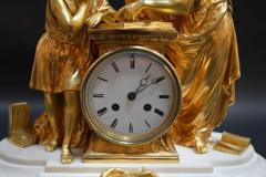 19th Century French Dore Bronze and White Marble Figural Clock - 336600