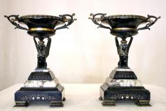 19th Century French Egyptian Revival Gilt Bronze and Marble Compotes - 829213