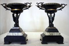 19th Century French Egyptian Revival Gilt Bronze and Marble Compotes - 829219