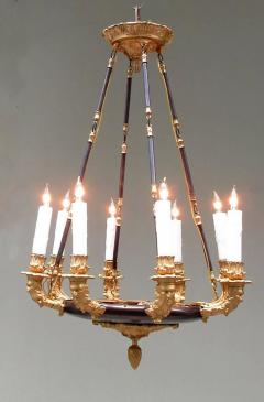 19th Century French Empire Patinated Brass and Zinc North Winds Chandelier - 355910