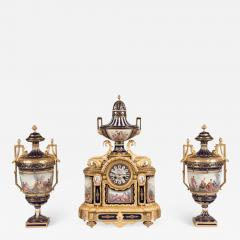 19th Century French Louis XVI Clock Garniture with S vres Porcelain and Ormolu - 620128