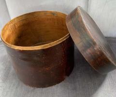 19th Century Handmade Wooden Chinese Hat Box - 1725232