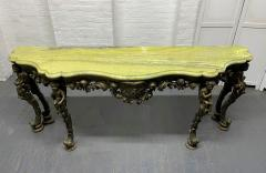 19th Century Italian Carved Wood Marble Top Console with Puttis - 1933028