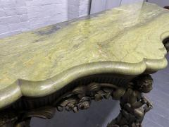 19th Century Italian Carved Wood Marble Top Console with Puttis - 1933031