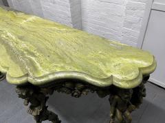 19th Century Italian Carved Wood Marble Top Console with Puttis - 1933033