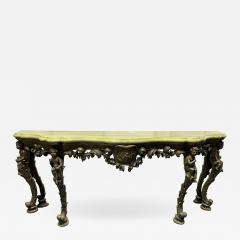 19th Century Italian Carved Wood Marble Top Console with Puttis - 1934932