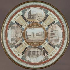 19th Century Italian Table of Mahogany and Painted Architectural Scenes of Rome - 625722