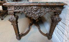 19th Century Louis XIV Italian Console Table with Green Marble Top - 301219
