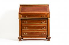 19th Century Mahogany Wood Gallery Top Drop Front Writing Desk - 1125558