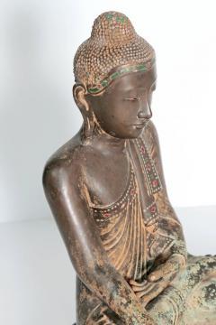 19th Century Mandalay Style Buddha of Bronze with Verdigris - 1980403