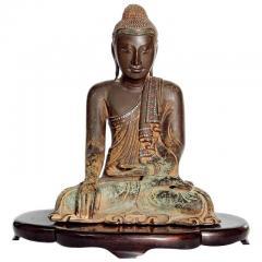 19th Century Mandalay Style Buddha of Bronze with Verdigris - 2132260