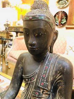 19th Century Mandalay Style Buddha of Bronze with Verdigris - 2132279