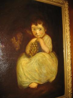 19th Century Oil Painting Little Girl with Grapes - 829514