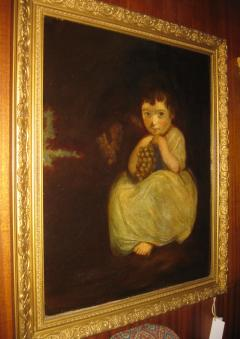 19th Century Oil Painting Little Girl with Grapes - 829529