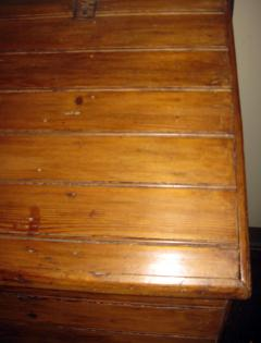 19th Century Primitive Pine Slant Top Wood Box - 890594