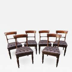 19th Century Set Of Six Philadelphia Baltimore Mahogany Tufted Leather  Chairs   479684