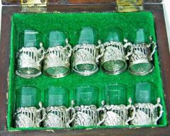 19th Century Set of Ten Sterling Silver Shot Glasses by W Comyn - 1695177