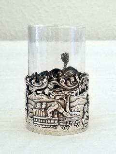 19th Century Set of Ten Sterling Silver Shot Glasses by W Comyn - 1695188